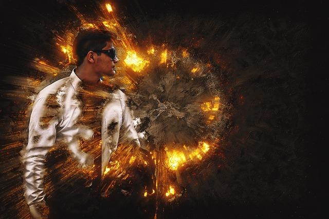 muž, ohnivá koule