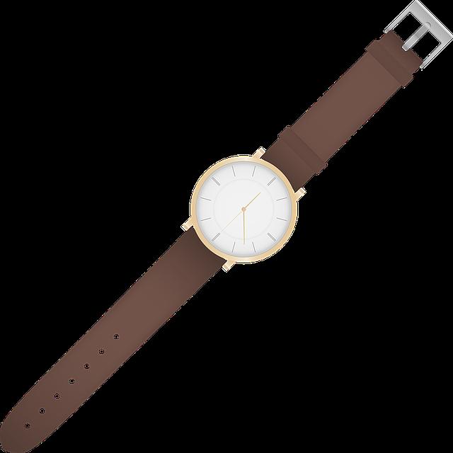 hodinky, hnědý pásek