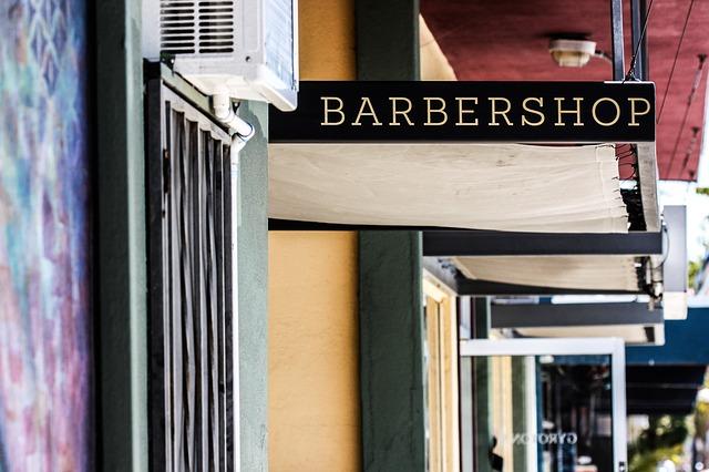 plátěné stříšky, barbershop