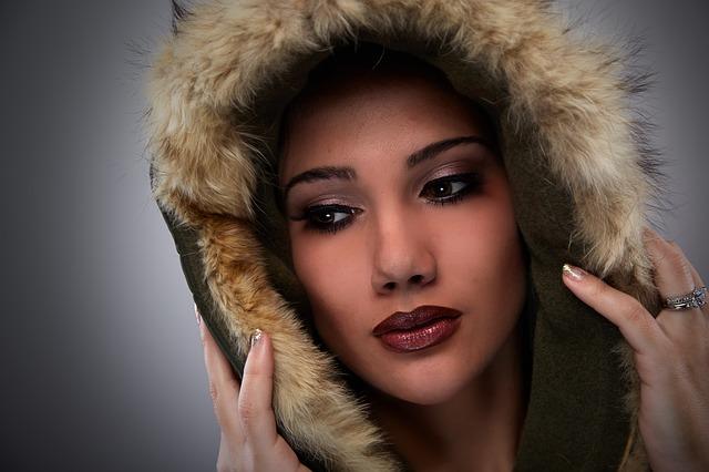 žena, kapuce, kožešin