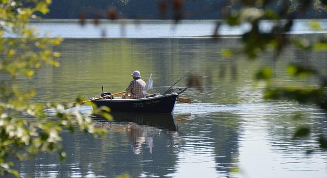 loďka, muž, rybářský prut