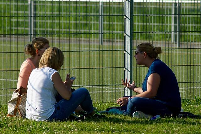 ženy, posed na trávě, plot